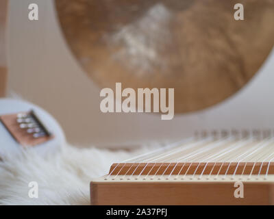 Sound healing set up with a gong and monochord for calming and relaxing  ceremony - Stock Photo