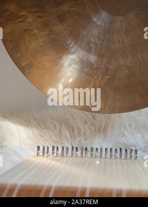 Sound healing set up with gong and monochord - Stock Photo
