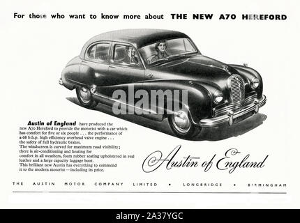 Advert for the Austin A70 Hereford car, 1951. The Austin A70 Hampshire and later Austin A70 Hereford were cars produced by Austin Motor Company at their Longbridge works in Birmingham, England from 1948 until 1954. They were conventional body-on-frame cars and the Hereford came fitted with a Smiths fresh-air/heater unit as standard. - Stock Photo