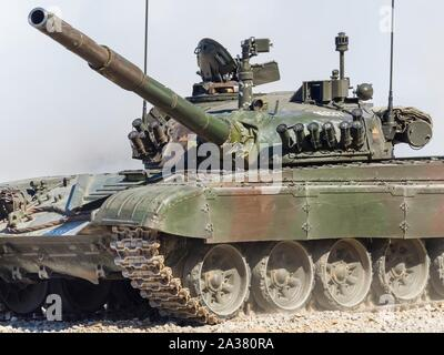 Slovenian armed forces M84 tank driving demonstration in Pivka Slovenia - Stock Photo