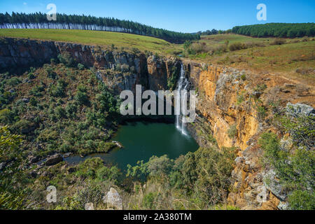 beautiful waterfall berlin falls at panorama route in mpumalanga, south africa - Stock Photo