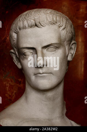 Caligula Roman, Emperor from 37 - 41 AD, Rome, Italy, Marble. ( he emperor wears a beard as a sign of the mourning of his sister Drusilla who died in AD 38. ) - Stock Photo