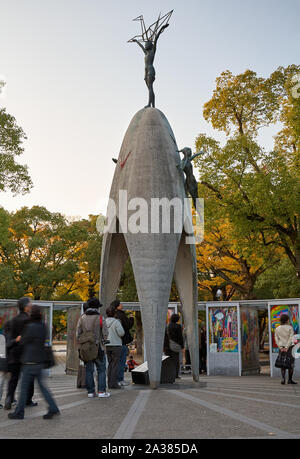 HIROSHIMA, JAPAN – NOVEMBER 23, 2007: Children's Peace Monument, dedicated to the memory of the children who died as a result of the bombing. Hiroshim - Stock Photo