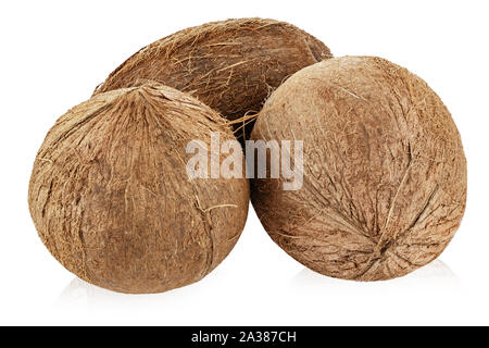 two whole coconuts isolated on a white background. file contains clipping path - Stock Photo