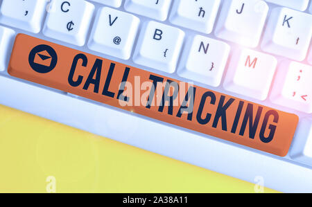 Word writing text Call Tracking. Business photo showcasing Organic search engine Digital advertising Conversion indicator White pc keyboard with empty - Stock Photo