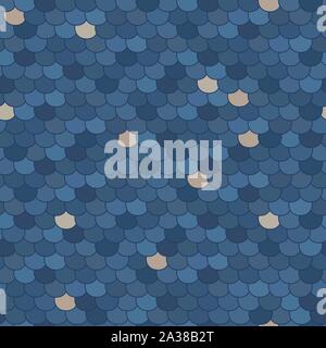 Abstract seamless pattern. Stylized roof shingles. Shades of blue and beige. Random arc texture. For decoration, wallpaper, web-page background. - Stock Photo