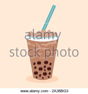 Tapioca Ball Tea. Coffee drink cocktail. Plastic glass with a straw. Vector editable illustration - Stock Photo