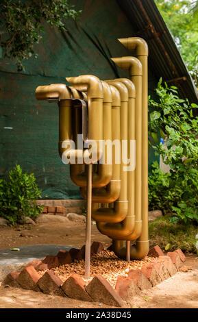Auroville, Tamilnadu/India- September 4 2019: Svaram Musical instruments and Research area in Auroville, Tamilnadu - Stock Photo