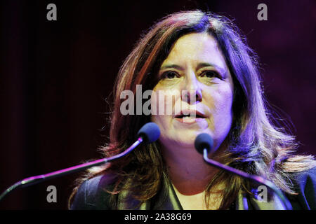 London, UK. 5th Oct, 2019. Organiser Mariana Katzarova speaks at the RAW in WAR Anna Politkovskaya Award 2018 ceremony in London Saturday October 5. Alexievich received the award for speaking out about injustices in the post-Soviet space. The award in memory of journalist Anna Polikotkovskaya who was murdered in 2006 is presented annually, by the Reach All Women in WAR (RAW in WAR) charity to a female human rights defender from a conflict zone. Photograph Credit: Luke MacGregor/Alamy Live News - Stock Photo