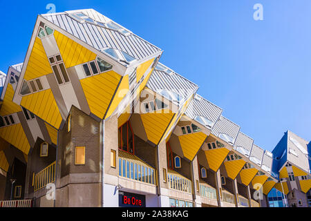 Modern architecture Cube Houses, designed by Piet Blom, and designed to maximise internal space, without using up a lot of ground space.  Rotterdam, N - Stock Photo