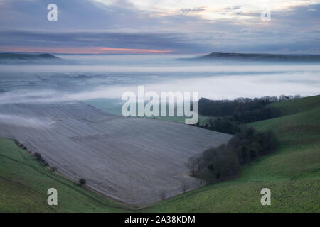 The view from the Kingston Ridge on the South Downs across the Sussex Weald. South Downs National Park Stock Photo