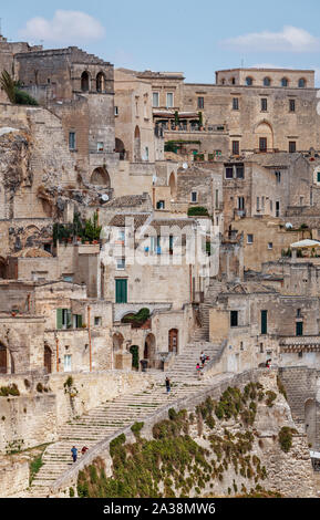 Matera (Basilicata, Italy) - view over Sasso Caveoso - Stock Photo