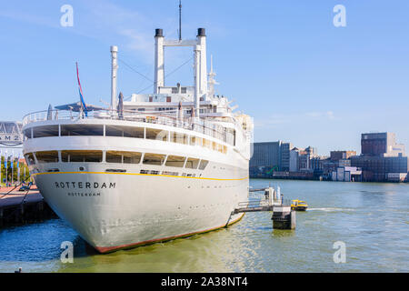 The fifth SS Rotterdam, built in 1958 and retired in 2000, at the Port of Rotterdam.  Since retirement, she has been permanently moored in Rotterdam a - Stock Photo