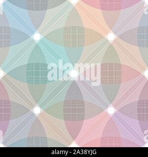 Concentric circle element seamless pattern. Abstract vector illustration for sound wave, Monochrome graphic. eps10 - Stock Photo