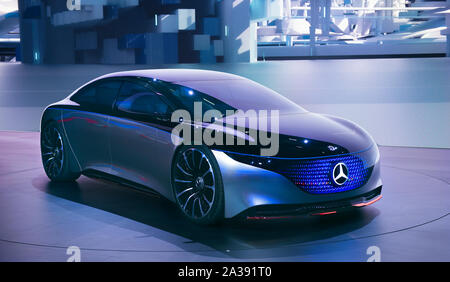 FRANKFURT, GERMANY - SEP 22.09.2019: Mercedes Benz Vision EQS luxury electric concept car reveiled at the Frankfurt IAA Motor Show 2019. - Stock Photo