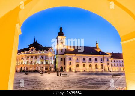 Sibiu, Romania. Large Square and City Hall. Transylvania medieval city. - Stock Photo