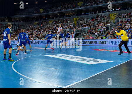 ZAGREB, CROATIA - SEPTEMBER 14, 2019: EHF man's Championship League. PPD Zagreb vs. Paris Saint-Germain.  Players in action - Stock Photo