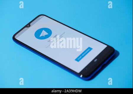 New york, USA - september 28, 2019:Telegram mobile menu application interface on smartphone side view - Stock Photo