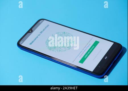 New york, USA - september 28, 2019:whatsapp mobile menu application interface on smartphone side view - Stock Photo