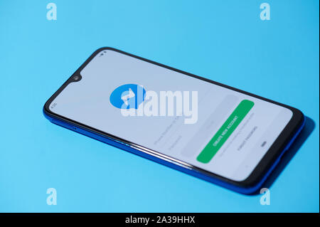 New york, USA - september 28, 2019:Facebook messenger mobile menu application interface on smartphone side view - Stock Photo
