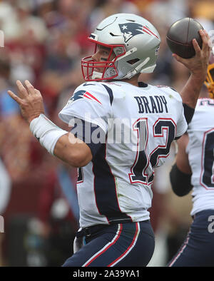 New England Patriots QB Tom Brady (12) in action during a game against the Washington Redskins at FedEx Field in Landover, Maryland on October 6, 2019. Photo/ Mike Buscher/Cal Sport Media - Stock Photo