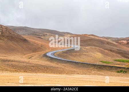 Winding road through Myvatn, Iceland along the Ring Road that circles the country
