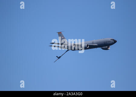 US Air Force KC 135 Stratotanker Performing at The Great Pacific Airshow Huntington Beach California USA. the largest airshow in the USA - Stock Photo