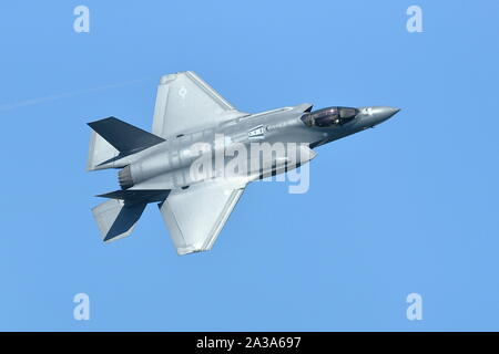 U.S. Air Force F-35 Lightning II Demo Team at the Great Pacific Airshow in Huntington Beach, California on October 4, 2019 - Stock Photo