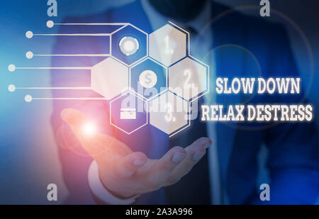 Writing note showing Slow Down Relax Destress. Business concept for calming bring happiness and put you in good mood Male wear formal suit presenting - Stock Photo