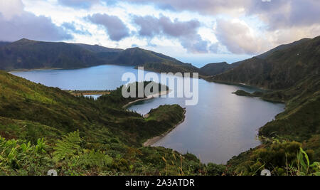 Beautiful panoramic view of Lagoa do Fogo, Lake of Fire, in São Miguel Island, Azores, Portugal - Stock Photo