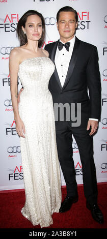 Hollywood, Los Angeles, United States. 05th Nov, 2015. (FILE) Angelina Jolie talks Brad Pitt divorce: 'I felt a deep and genuine sadness'. HOLLYWOOD, LOS ANGELES, CALIFORNIA, USA - NOVEMBER 05: Actors Angelina Jolie Pitt (wearing an Atelier Versace gown and Procop jewels) and Brad Pitt (wearing Lanvin) arrive at the opening night gala premiere of Universal Pictures' 'By the Sea' during AFI FEST 2015 presented by Audi held at the TCL Chinese Theatre IMAX on November 5, 2015 in Hollywood, Los Angeles, California, United States. ( Credit: Image Press Agency/Alamy Live News - Stock Photo