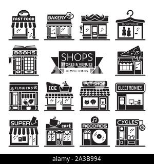 Shops, stores and restaurants icon collection. Set of 14 storefront vector illsutartions. Retail and shopping concept. - Stock Photo