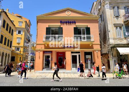 Branch of Eurobank,Corfu Old Town,Corfu,Kerkyra,Kerkira,Greece,Ionian Islands - Stock Photo
