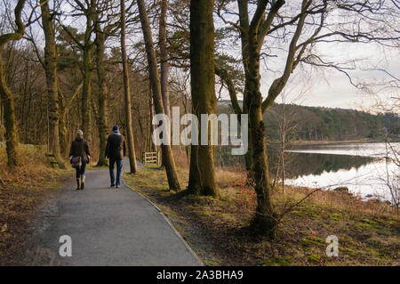 Couple (man & woman) walking on waterside path by scenic, calm, tree-lined lake - Swinsty Reservoir, Washburn Valley, North Yorkshire, England, UK. - Stock Photo