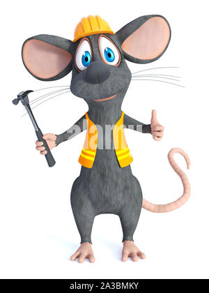 3D rendering of a cute cartoon mouse dressed as a construction woker, holding a hammer and doing a thumbs up. White background. - Stock Photo