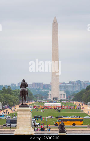 Washington DC, USA - June 9, 2019: View of the National Mall from the US Capitol building, Ulysses S Grant memorial and Washington Monument