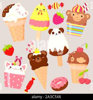 Vector set of animal shaped ice cream - vanilla, chocolate, strawberry. In kawaii style with smiling faces, pink cheeks and winking eyes. Cat, rabbit, - Stock Photo