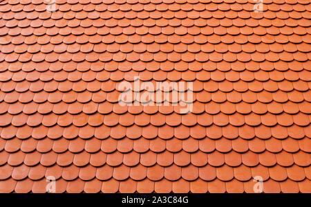 real ceramic shingle roof tile background pattern - Stock Photo