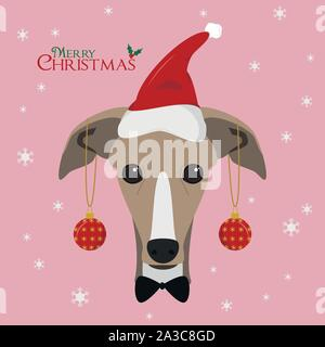 Christmas greeting card. Greyhound dog with red Santa's hat and Christmas toy balls - Stock Photo