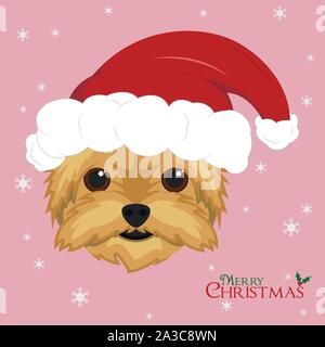 Christmas greeting card. Yorkshire Terrier dog with red Santa's hat - Stock Photo