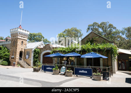 The restaurant and gift shop close to the Chateau Yaldara on the McGulgan winery estate in the Barossa Valley wine region. Barossa Valley is one of Au - Stock Photo