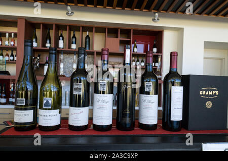 A row of Jacobs Creek wines on display for wine tasting at the Jacobs Creek visitor's centre in the Barossa Valley wine region in South Australia.   T - Stock Photo