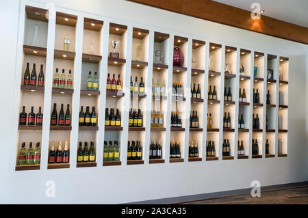 A large display of wines and trophies in the visitors center at Wolf Blass  winery in the Barossa Valley wine region in South Australia.   There are a - Stock Photo