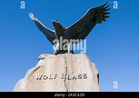A statue of an eagle of the Wolf Blass trademark, situated at the Wolf Blass main winery visitor's centre in the Barossa Valley wine region in South A - Stock Photo