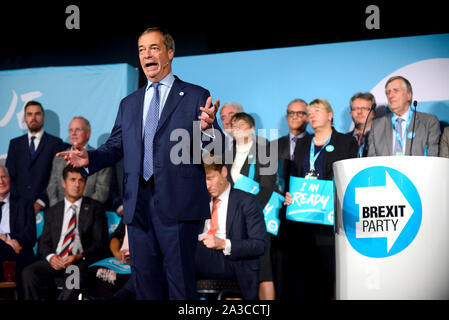 Nigel Farage MEP, party leader, speaking at a Brexit Party rally at the Kent Event Centre in her former parliamentary constituency of Maidstone, Kent, - Stock Photo