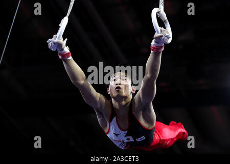 Stuttgart, Germany. 7th Oct, 2019. Kaya Kazuma of Japan competes on the rings during the men's qualifications of the 2019 FIG Artistic Gymnastics World Championships in Stuttgart, Germany, Oct. 7, 2019. Credit: Zhang Cheng/Xinhua/Alamy Live News