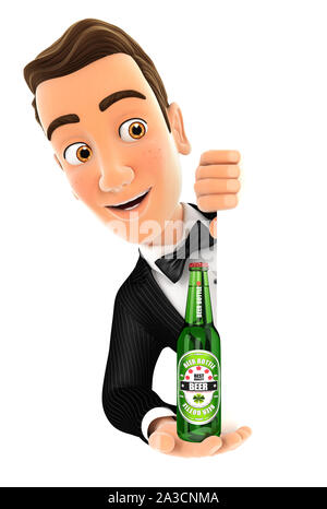 3d waiter behind left wall and holding beer bottle, illustration with isolated white background - Stock Photo
