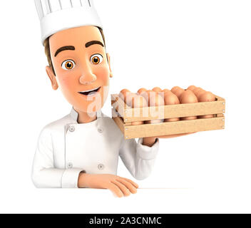 3d head chef holding wooden crate of eggs, illustration with isolated white background - Stock Photo