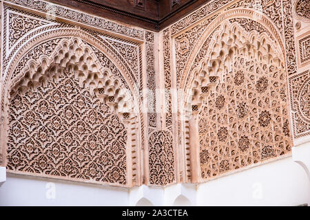 Moroccan arabesque architecture in Bahia palace - engraved walls - Stock Photo