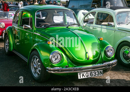 Beautifully restored metallic green, Volkswagen Beetle 1300cc at the Bicester Heritage, Sunday Scramble in October 2019 - Stock Photo